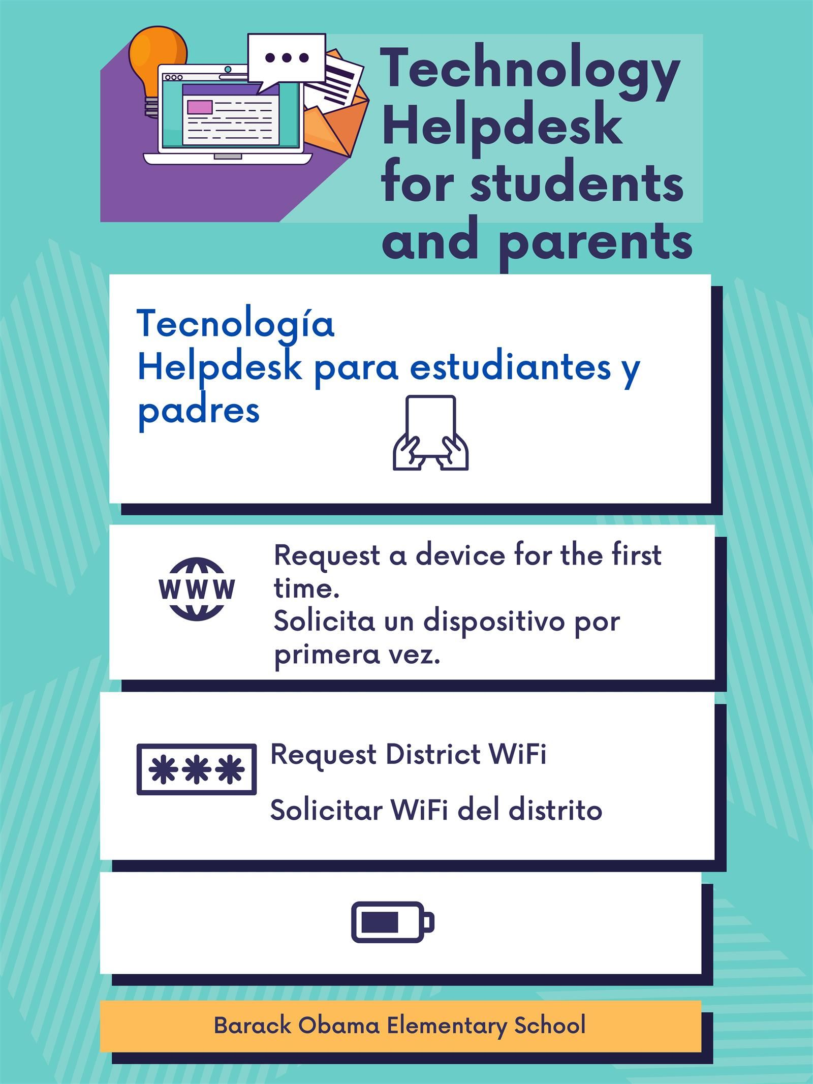 Technology  Support For Students and Parents/New Device Forms/Soporte Tecnológico para estudiantes y padres