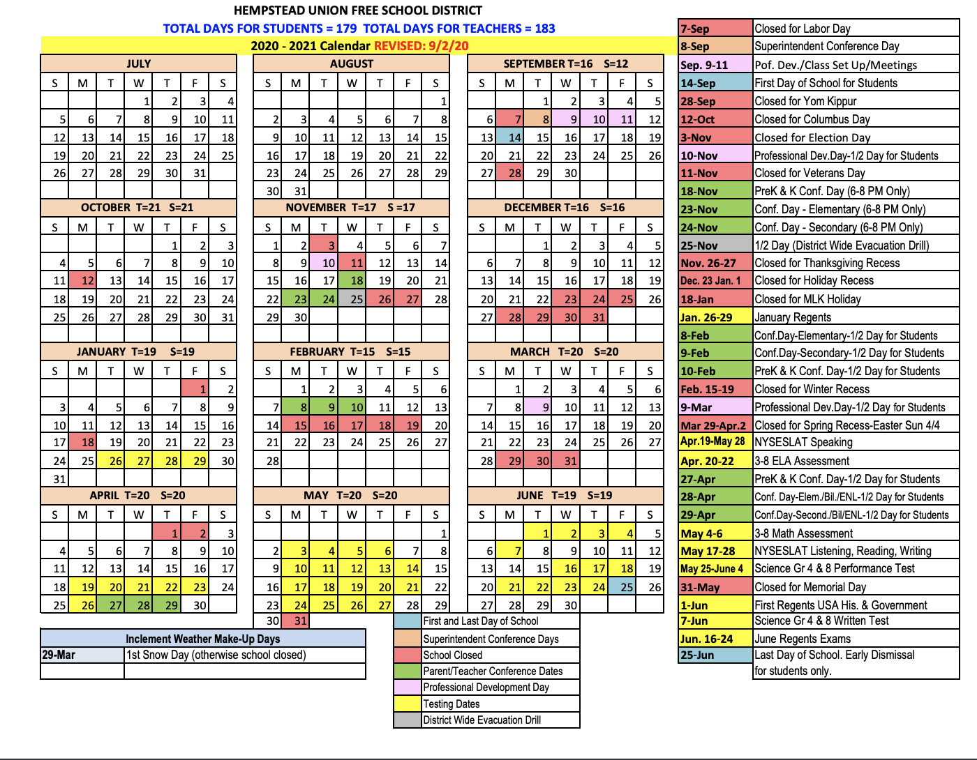 District Calendar 2020-2021 / Calendario Distrital 2020-2021