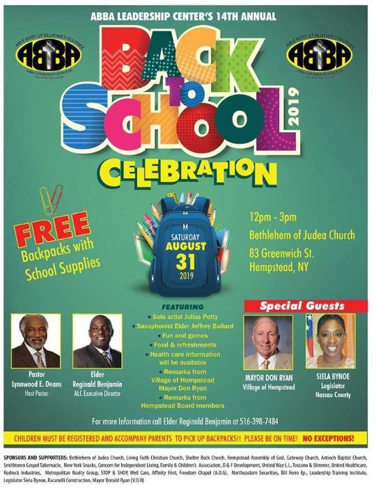 Back to School Celebration - Click here to view flyer