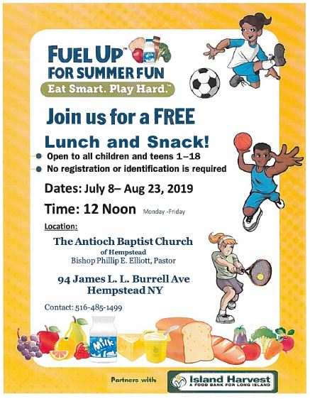 Free Lunch & Snack - Monday - Friday, July 8 - August 23, 2019 - Click here to view flyer