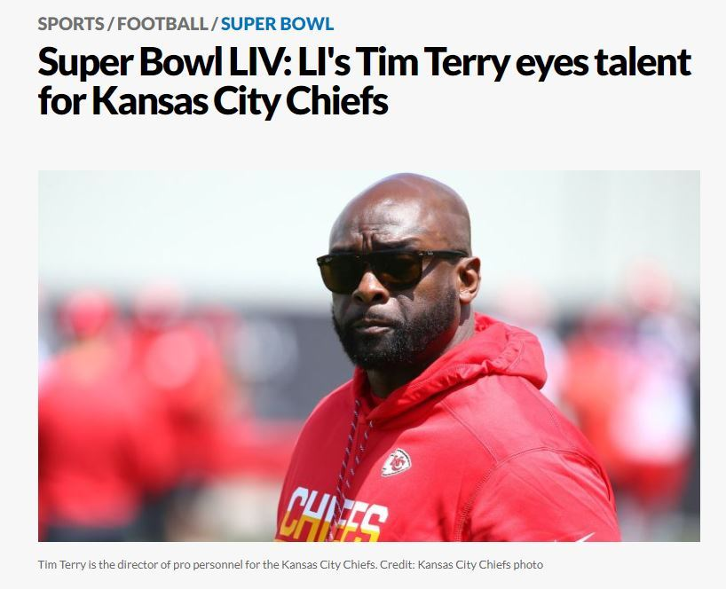 Former Alumni ...Hard Work Pays Off......Super Bowl Champions Tim Terry and His Kansas City Chiefs