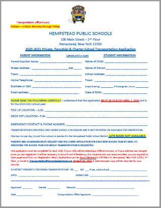 Click here to download 2020-21 Private, Parochial & Charter School Transportation Application
