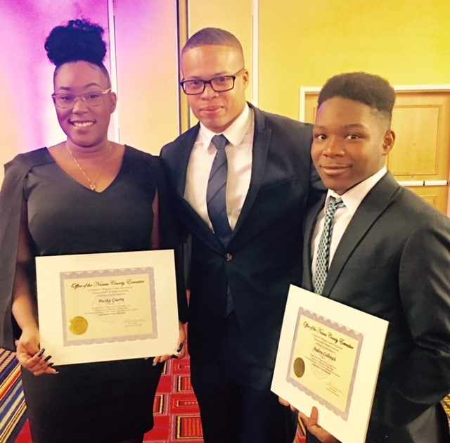 Martin Luther King Jr. Essay Winners with Trustee Stith