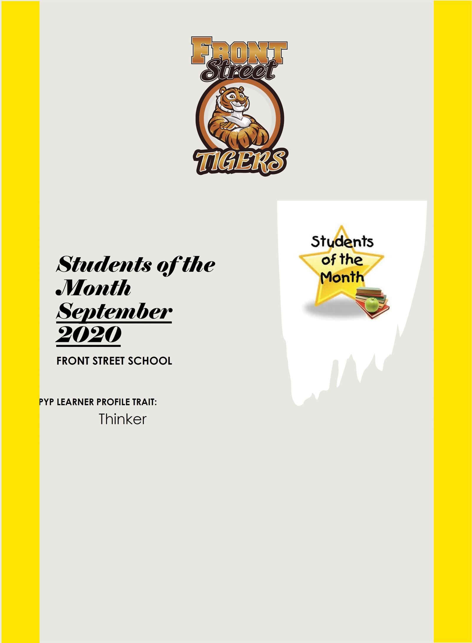 SEPTEMBER STUDENT OF THE MONTH/SEPTIEMBRE ESTUDIANTE DEL MES